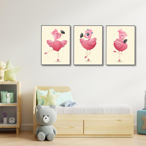 Picture of Set de Cuadros magic frame  |  Flamingos