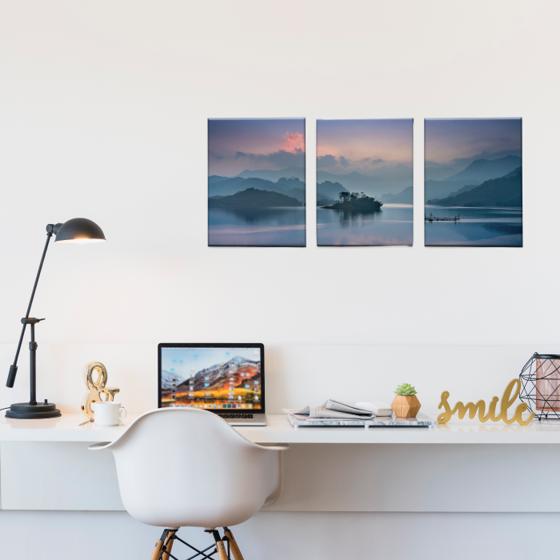 Picture of Set de Cuadros canvas | Lago atardecer